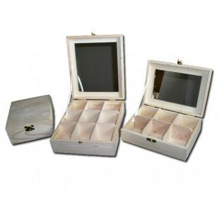 Krabička na čaj - 4 priehradková so zrkadlom