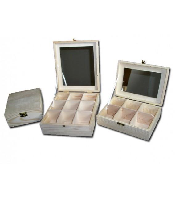 Krabička na čaj - 9 priehradková so zrkadlom