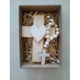Sada- krížik+ruženec - BIELA